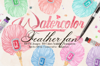 100 Hand Painted Watercolor Handy Feather Fan Clip Arts