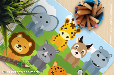African Safari Animals Vector Clipart
