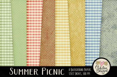 Summer Gingham Polka Dot Background Textures