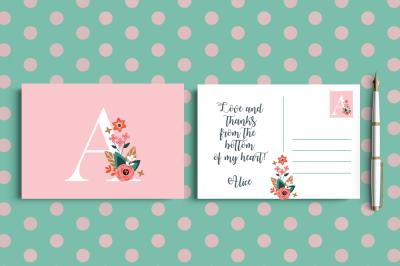 Rose Monogram Postcards