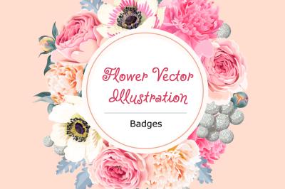 Flower Badge Vector Illustration