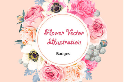 Flower Badge Vector Illustration