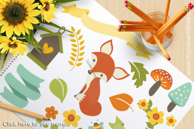 Woodland Whimsy Animals Vector Clipart