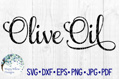 Olive Oil Elegant Scroll Label SVG/DXF/EPS/PNG/JPG/PDF
