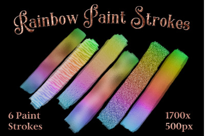 Rainbow Paint Strokes - Set of 6 Brushstroke Images
