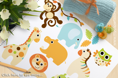Safari Animals Clipart - Baby Boy Vector Clipart