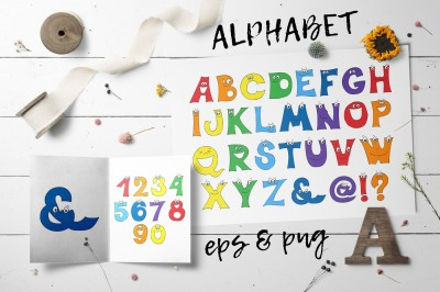 Cartoon Alphabet and numbers