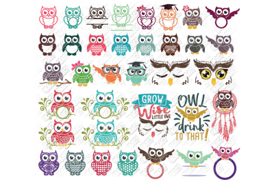 Owl SVG Monogram Bundle in SVG/DXF/PNG/JPG/EPS