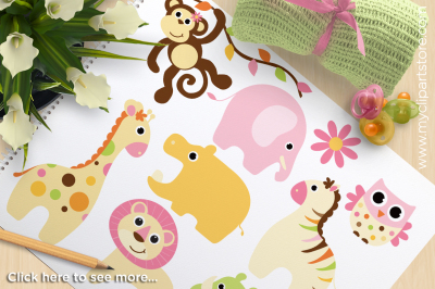 Safari Animals Clipart - Baby Girl Vector Clipart