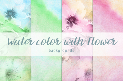Water color with flower background Vol.5
