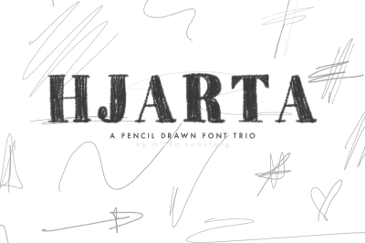 Hjarta — a pencil-drawn font trio