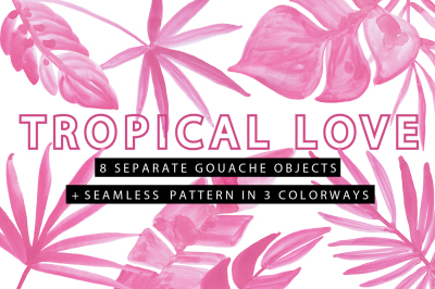 TROPICAL LOVE - Gouache Clipart Pack