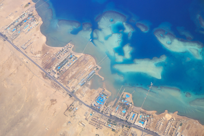 Aerial view of Red sea coastline and sand islands
