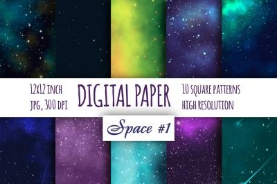 Space Fantastic digital paper. Galaxybright pattern