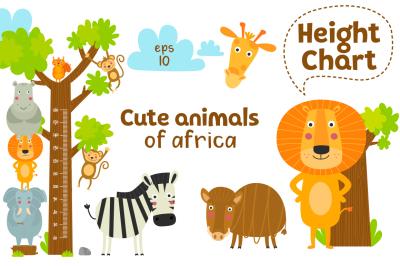 Cute animals of Africa, Vector set