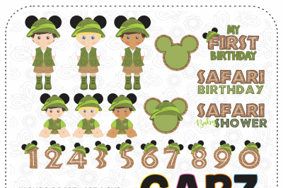 Safari Mouse for Boys, Clipart and Digital Papers