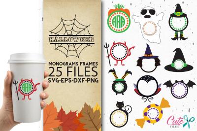 Halloween monograms frames bundle, svg for cutting files