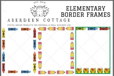 Elementary Color Border Frames Clip Art