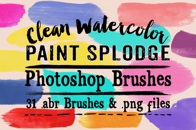 Clean Watercolor Paint Splodge Photoshop Brushes