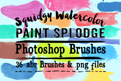 Squidgy Watercolor Paint Splodge Photoshop Brushes