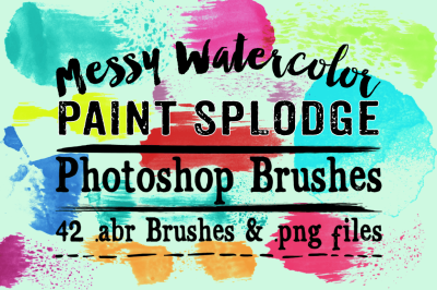Messy Watercolor Paint Splodge Photoshop Brushes