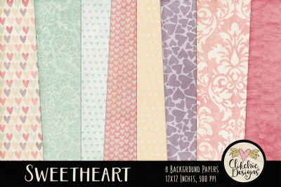 Sweetheart Shabby Damask Hearts Textures