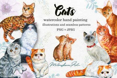 Cats . Watercolor illustrations