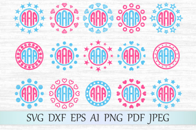 Monogram frames svg, Circle monograms cut file, Monogram frames dxf
