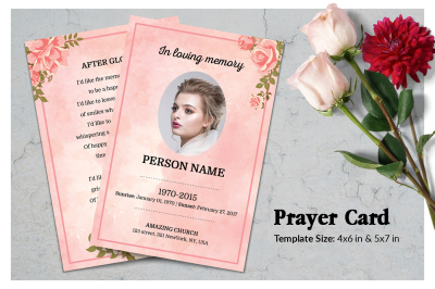 Rose Gold Prayer Card Template