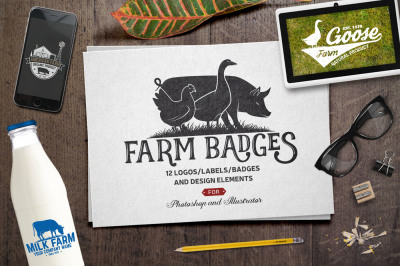 Vintage Farm Badges and Labels