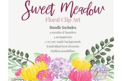 Sweet Meadow Floral Water color