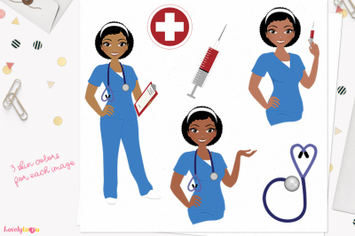 Nurse clipart, character woman (L374 Neve)