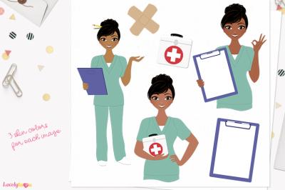 Nurse clipart, character woman (L392 Cassie)