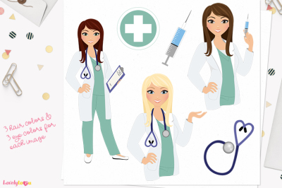 Doctor clipart, character woman (L395 Zara)