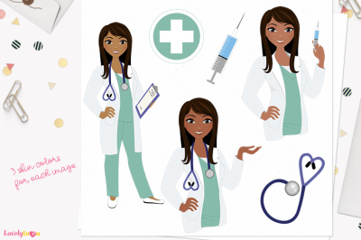 Doctor clipart, character woman (L396 Zoe)