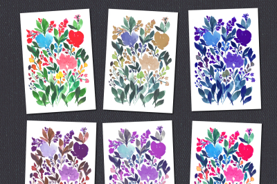 Digital Printable Downloadable Hand painted flowers