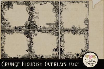 Grunge Flourish Overlay Textures