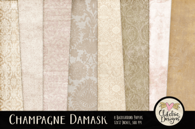 Champagne Wedding Damask Textures