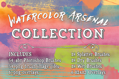 Watercolor Arsenal Photoshop Brushes & Textures Collection