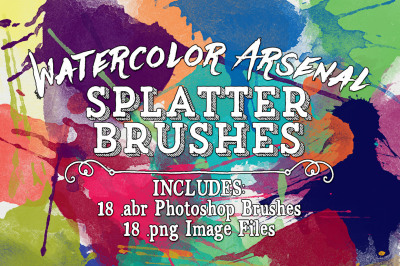 Watercolor Arsenal Splatter Photoshop Brushes