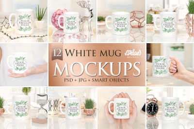 Bundle of 12 White Mug Mockup, stock photo
