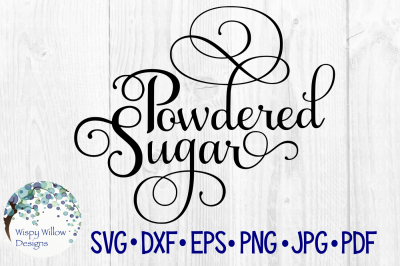 Powdered Sugar Elegant Scroll Label SVG/DXF/EPS/PNG/JPG/PDF