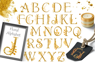 Gold Floral Alphabet