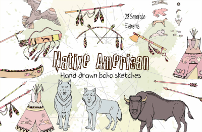 Native American digital clipart, boho