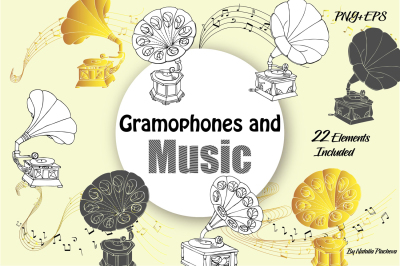 Music and Gramophones Digital Clip Art,