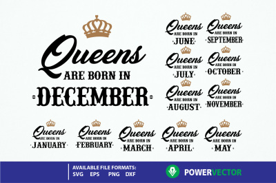 Queen Birthday Svg, Dxf Eps, Png Files. Queens are born Svg