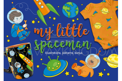SPACEMAN Cartoon Clipart and Seamless Pattern Vector Illustration Set