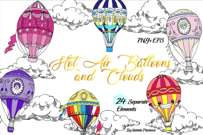 Hot Air Balloons Digital Clip Art, cloud, sky, air, retro, vintage, ha