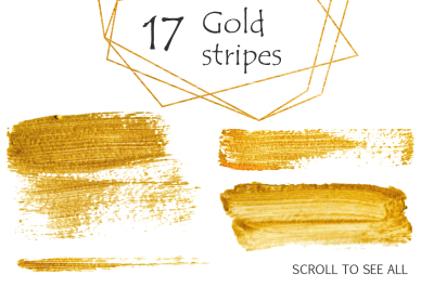 Gold clipart Brush Strokes, Stripes, Shapes, Splashes Digital Design R