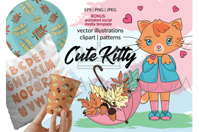 CUTE KITTY Vector Illustration, Seamless Pattern and Animation Set